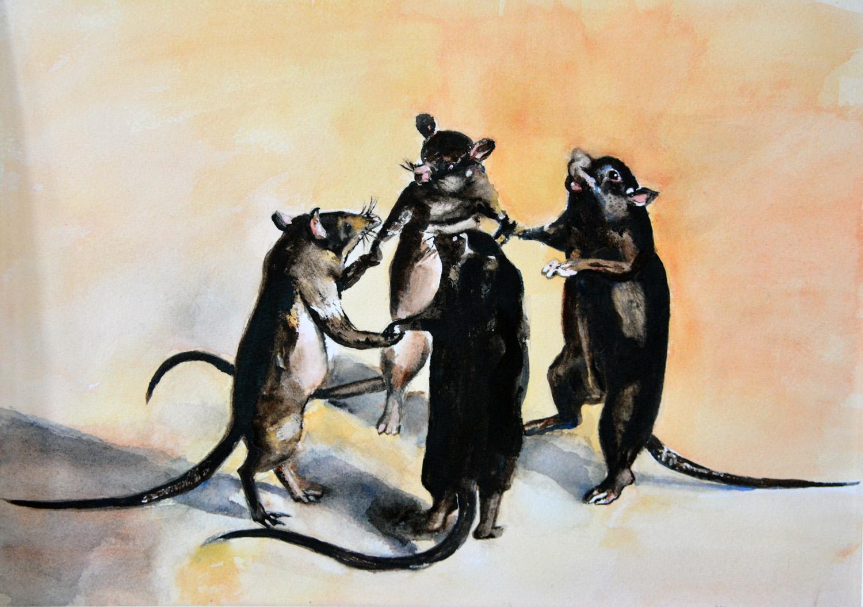 After Ferdinand Van Kessel, watercolor