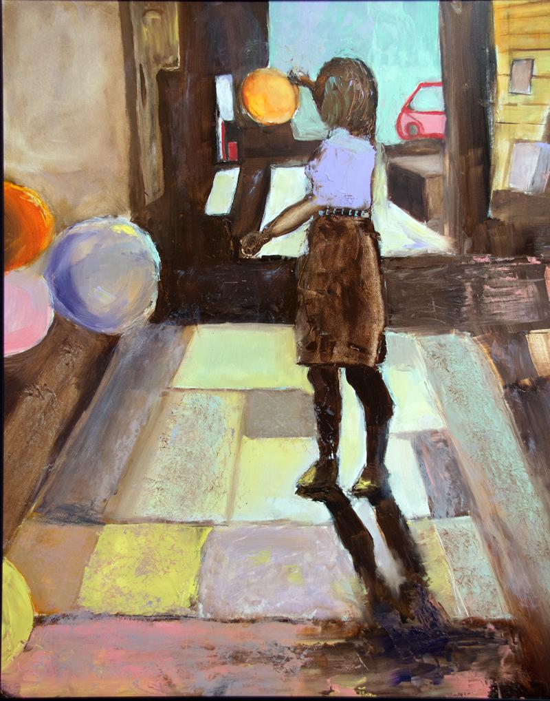 Warehouse Figure #2, oil on canvas