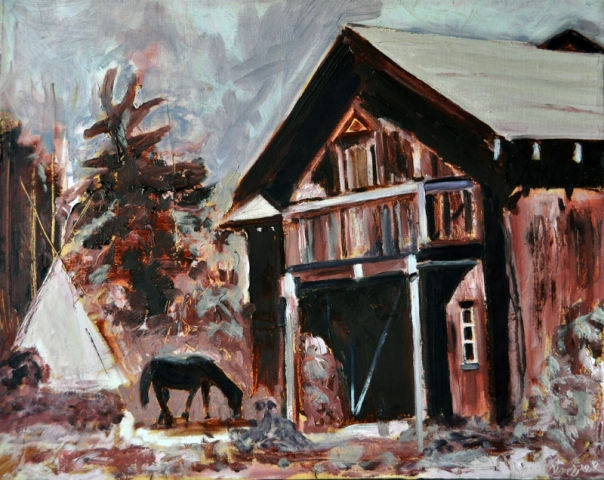Barn With Horse, oil on canvas