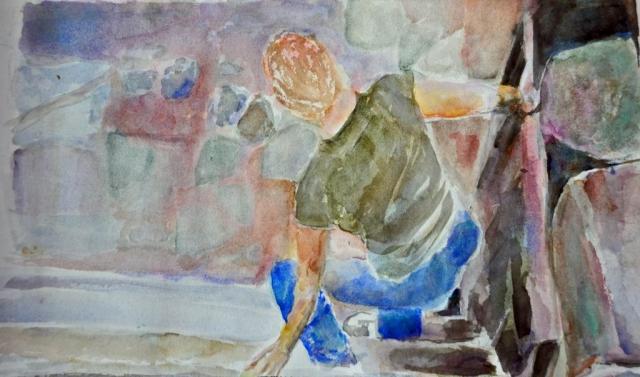 Carefully Descending, watercolor