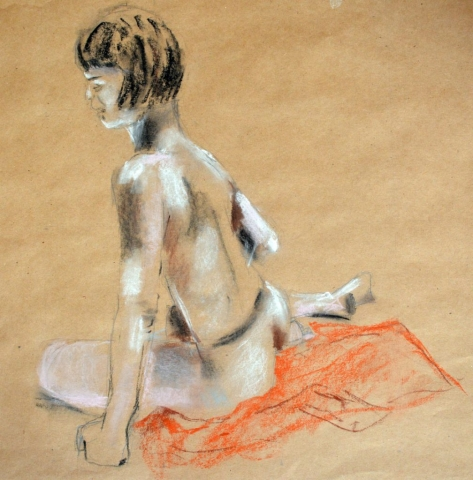 Girl On Red Scrarf, charcoal and pastel on brown paper