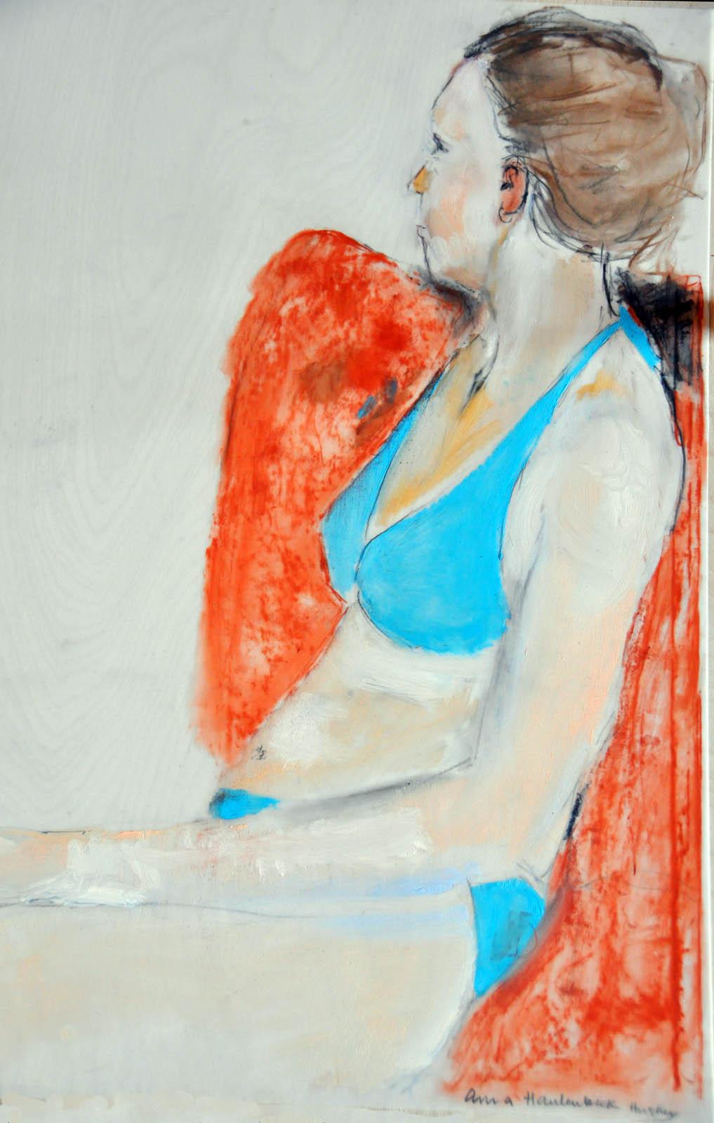 Woman Sitting, oil on mylar