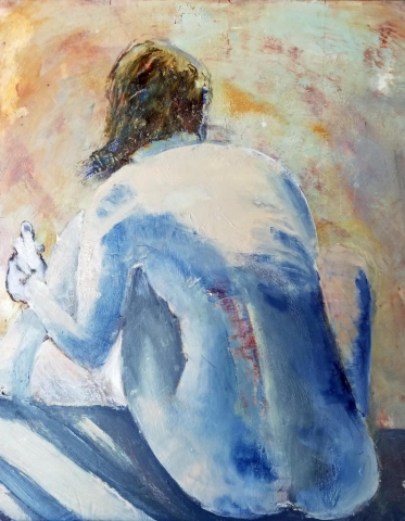Back of Woman, oil and cold wax